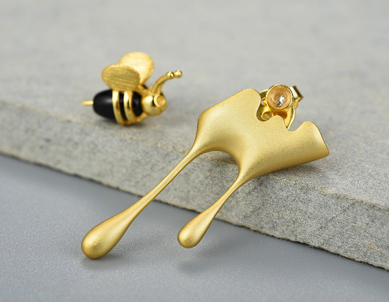 Dripping Honey & Bee Earrings