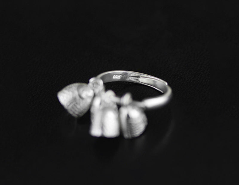 Sterling Silver | Fish Bells Ring - Lotus Fun
