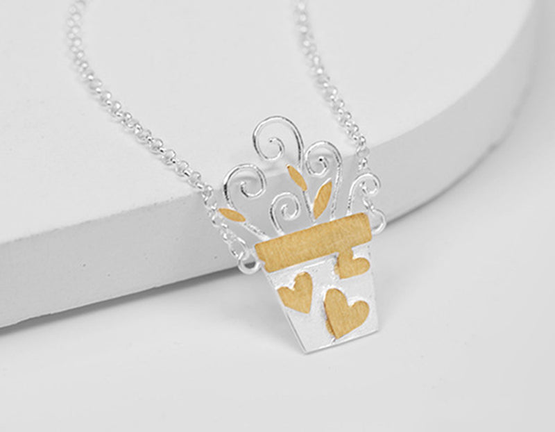 Cute Flower Pot Necklace