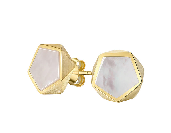 Gold Pentagon Geometric Earring - Lotus Fun