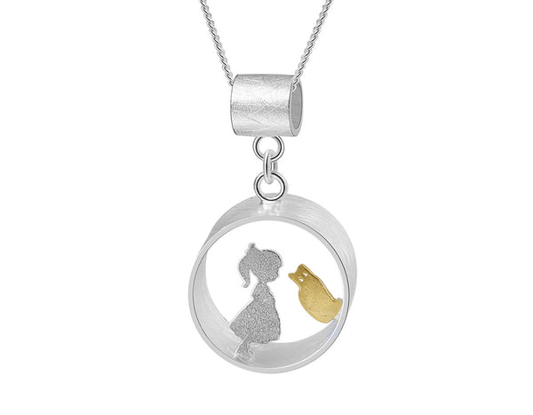 Boy and Girl Meets Cat Pendant - Lotus Fun