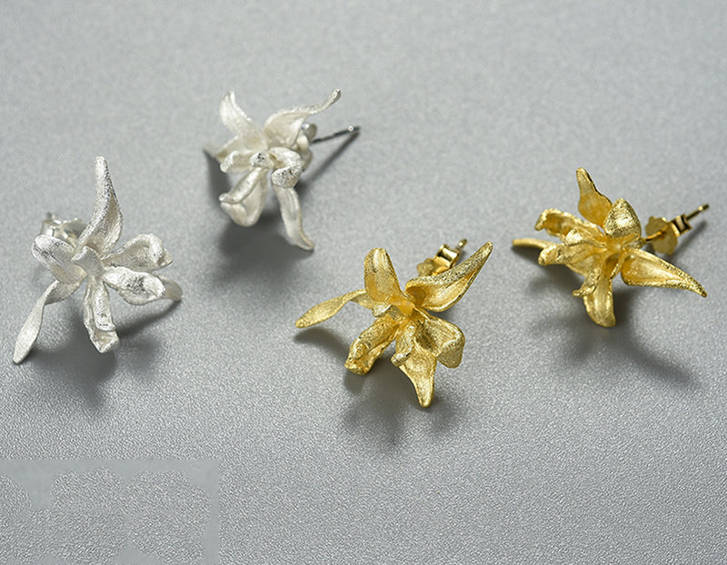 Iris Flower Stud Earring