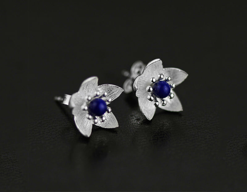 Lapis Flower Stud - Lotus Fun