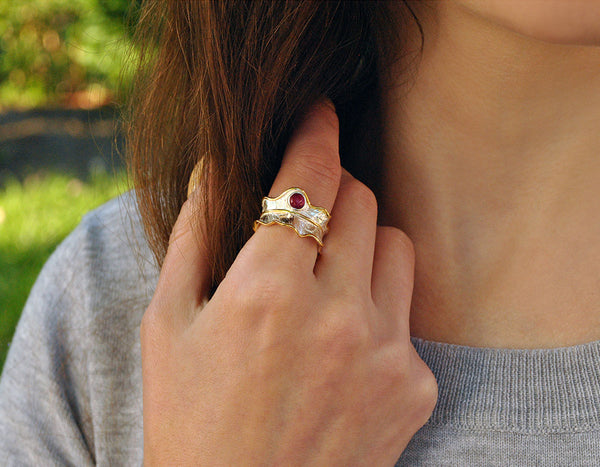 Sterling Silver | Peony Leaf Ring - Lotus Fun