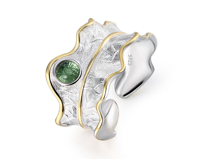 Tourmaline Leaf Ring - Lotus Fun