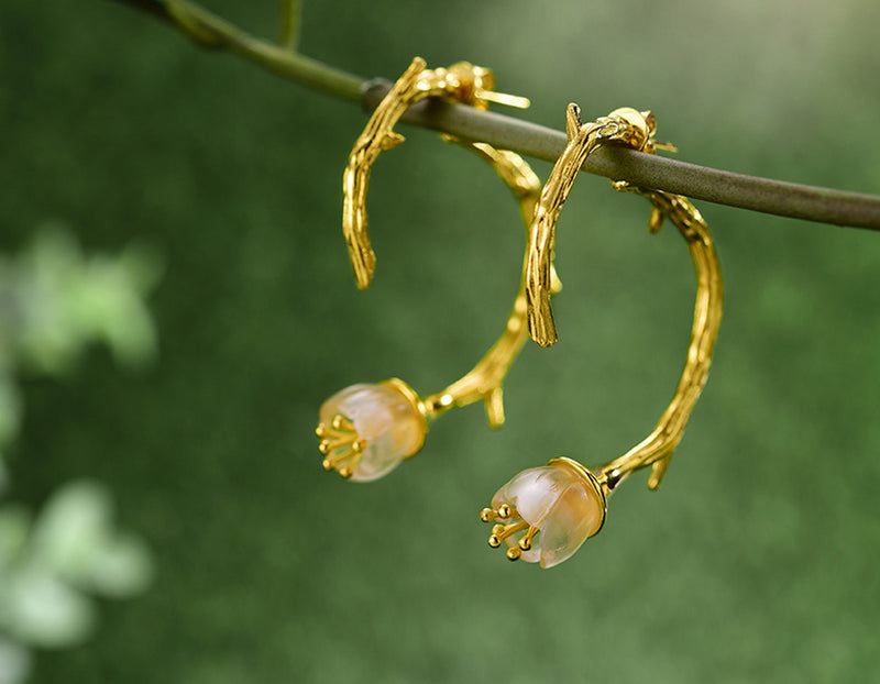 Gold Lily of the Valley II Earring - Lotus Fun