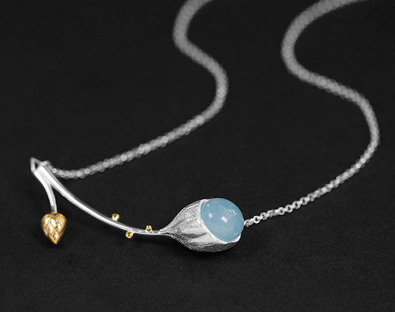Aquamarine Lotus Necklace - Lotus Fun