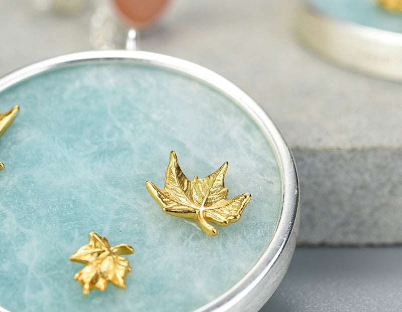 Maple Leaves Amazonite Earring
