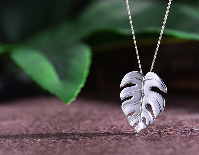 Silver Monstera Pendant - Lotus Fun