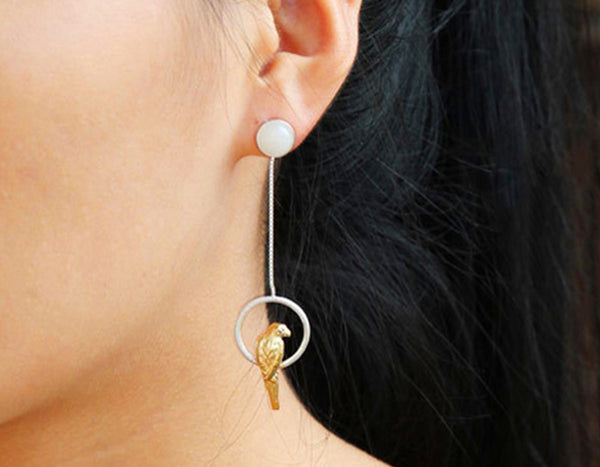 Sterling Silver Parrot Earring - Lotus Fun