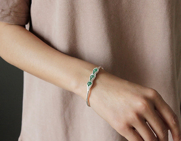Sterling Silver | Pea Pod Bangle - Lotus Fun
