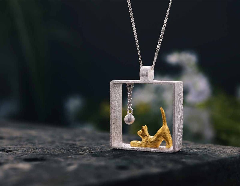 Playful Cat Pendant - Lotus Fun