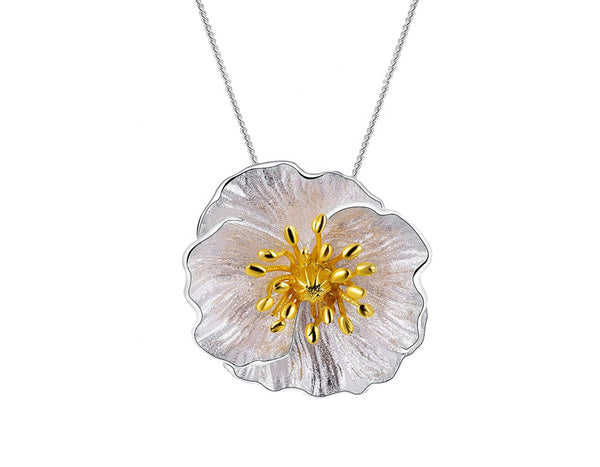 Blooming Poppies Pendant - Sterling Silver - Lotus Fun