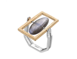 Rotatable Labradorite Ring