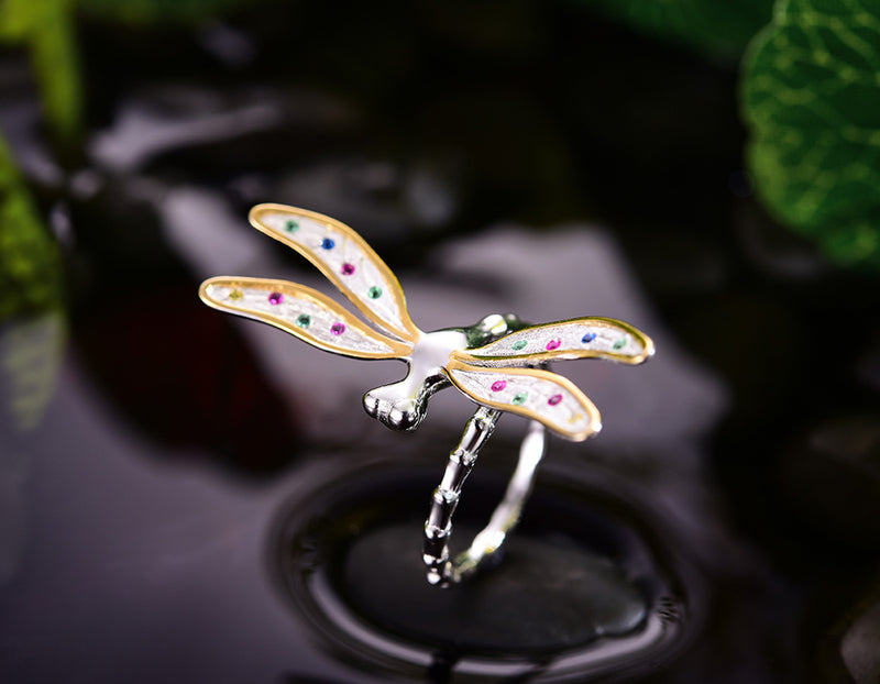 Rainbow Dragonfly Ring - Lotus Fun