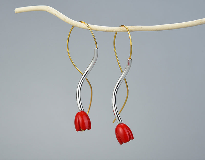 Red Rose Vines Earring