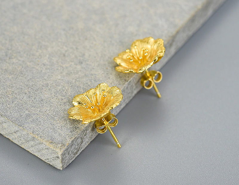 Wild Rose Flower Stud Earring