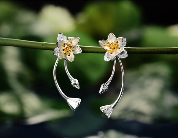 Lotus Whispers Drop Earring