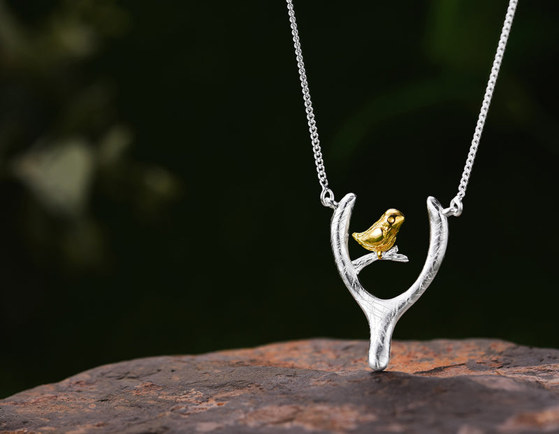 Bird on Wish Bone Necklace
