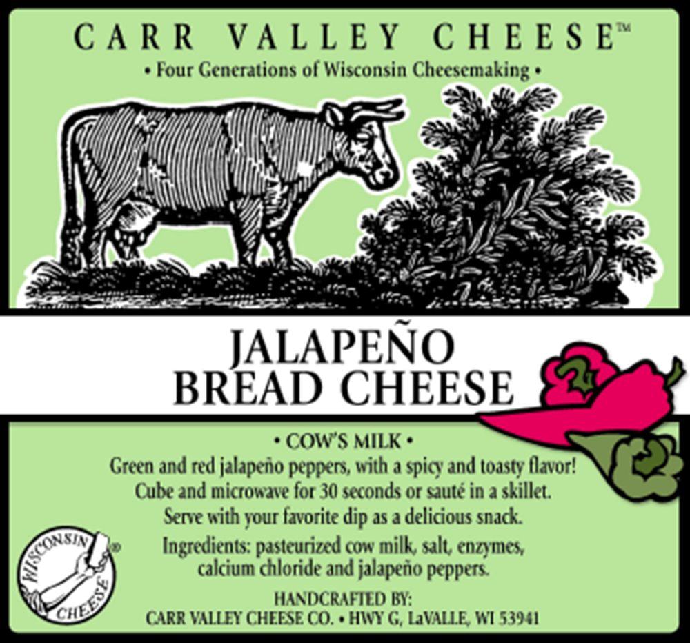 Carr Valley Jalapeno Bread Cheese, 10 Oz (Pack of 3)