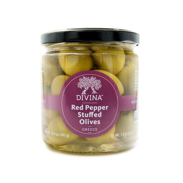 Divina Red Pepper Stuffed Olives, 7.8 oz. (Case of 6)