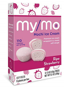 My/Mo Strawberry Mochi Ice Cream, 6 Pack, 9.1 oz. (Case of 12)
