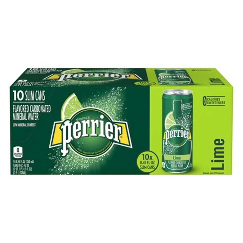 Perrier Sparkling Water w/ Lime, 8.45 oz. (3 Boxes of 10 Cans)