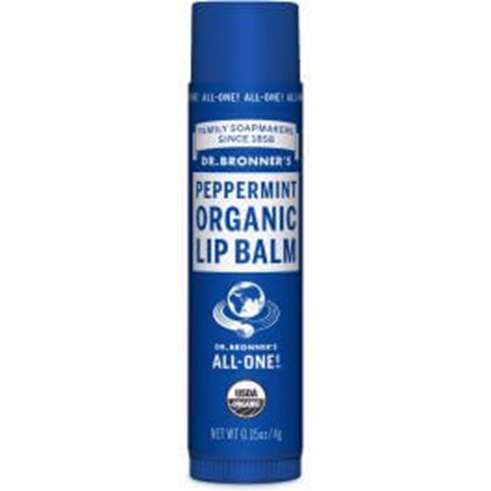 Dr. Bronner's Organic Peppermint Lip Balm, 0.15 oz. (Case of 12)