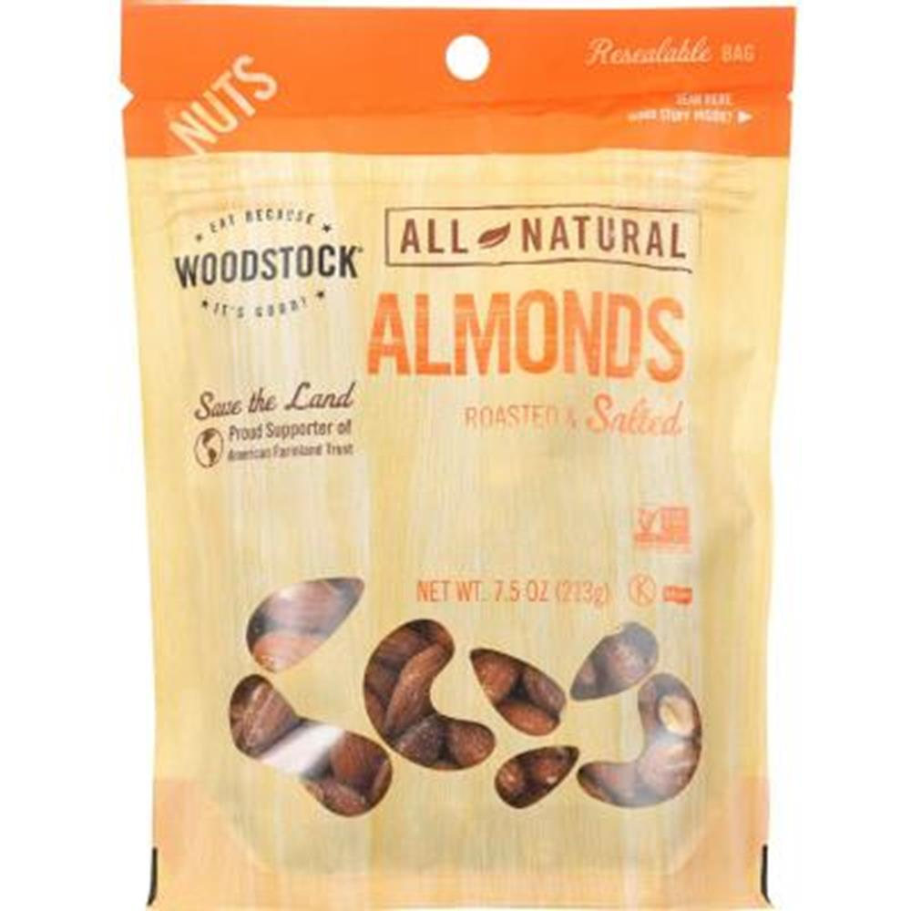 Woodstock Roasted & Salted Almonds, 7.5 oz. (Case of 8)