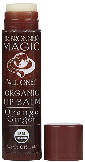 Dr. Bronner's Organic Orange Ginger Lip Balm, 0.15 Oz (Pack of 12)