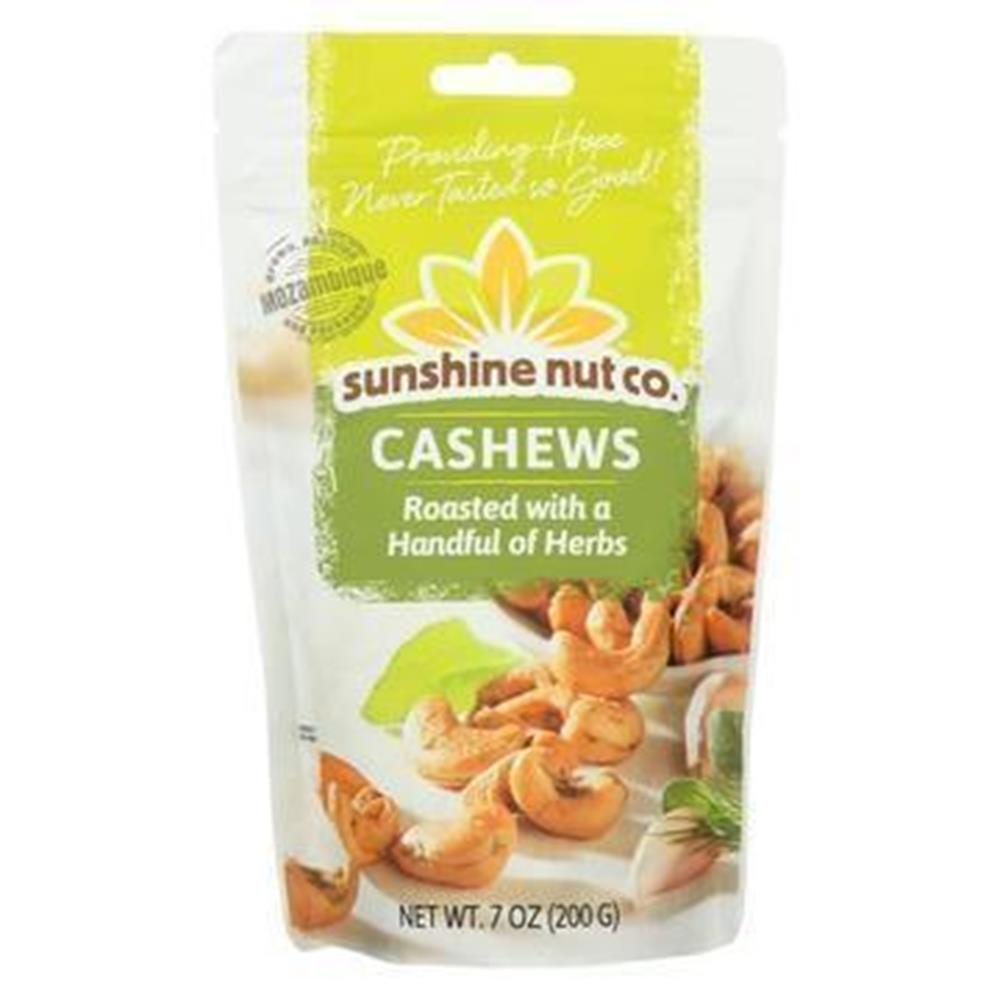 Sunshine Nut Company Roasted Cashews w/ Herbs, 7 oz. (Case of 6)