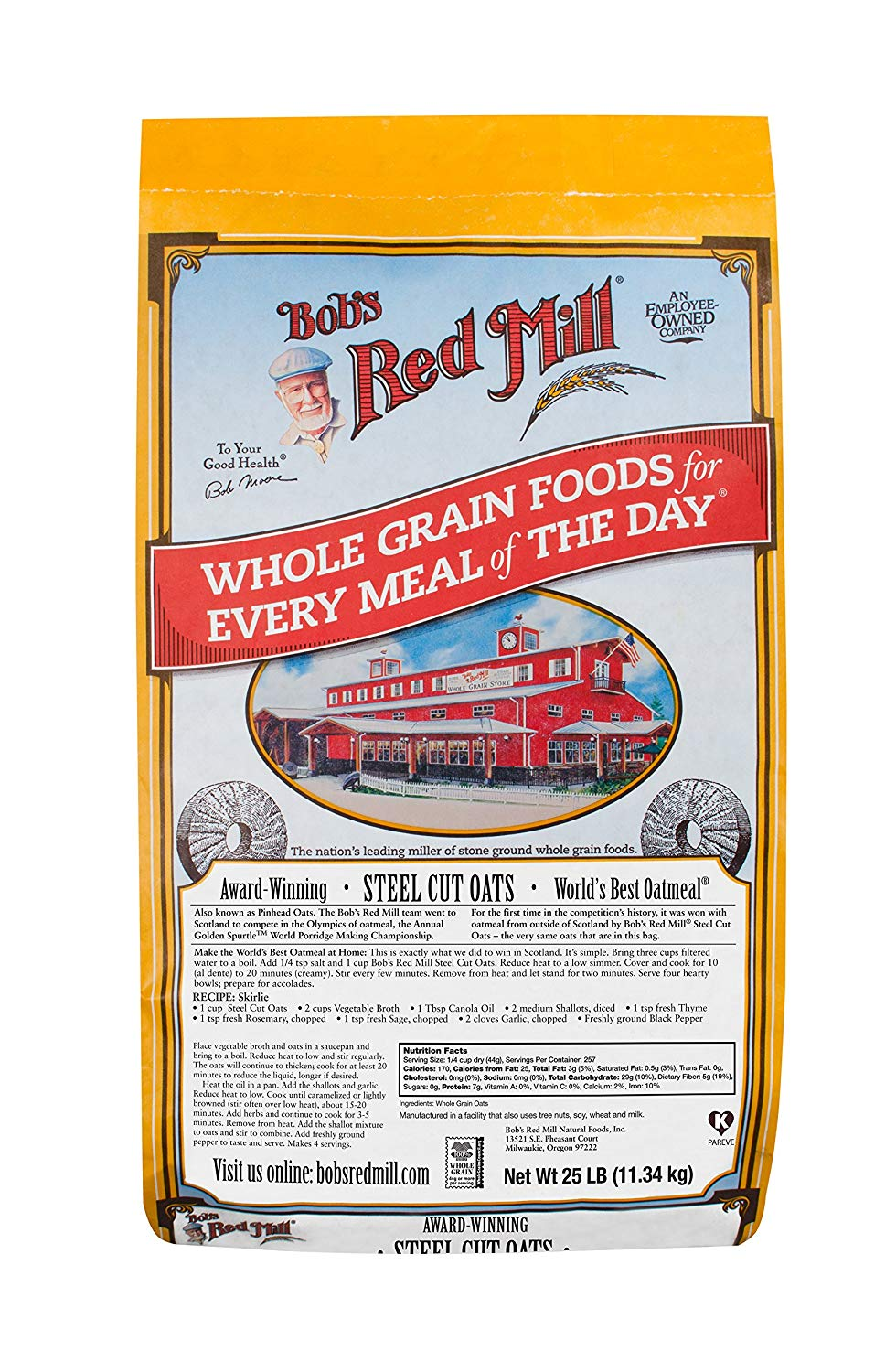 Bob's Red Mill Steel Cut Oats, 25 lb