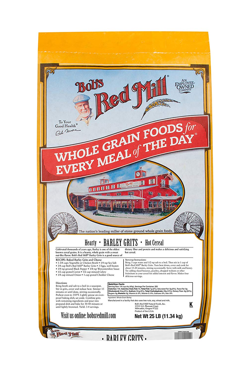 Bob's Red Mill Barley Grits, 25 lb
