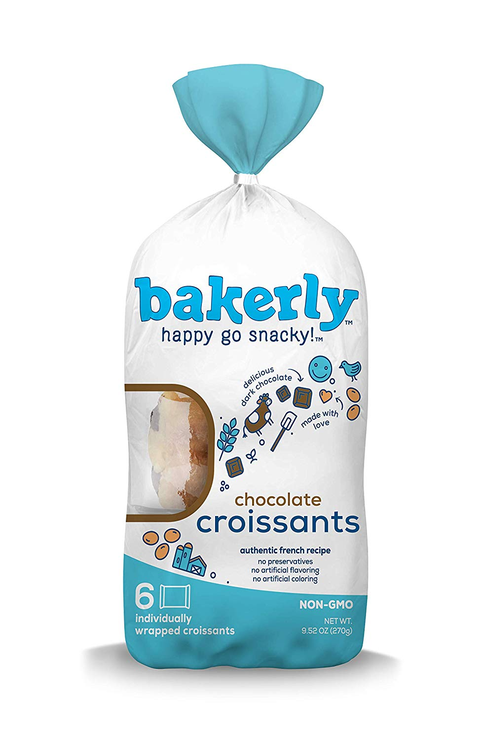 Bakerly Chocolate Croissants, 6 ct (Case of 8)