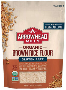 Arrowhead Organic Gluten Free Brown Rice Flour, 24 oz (Case of 6)