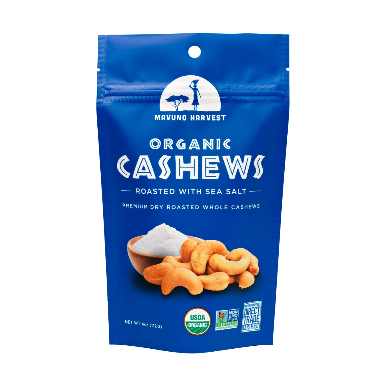 Mavuno Harvest Roasted Salted Organic Cashews, 4 oz. (Case of 6)