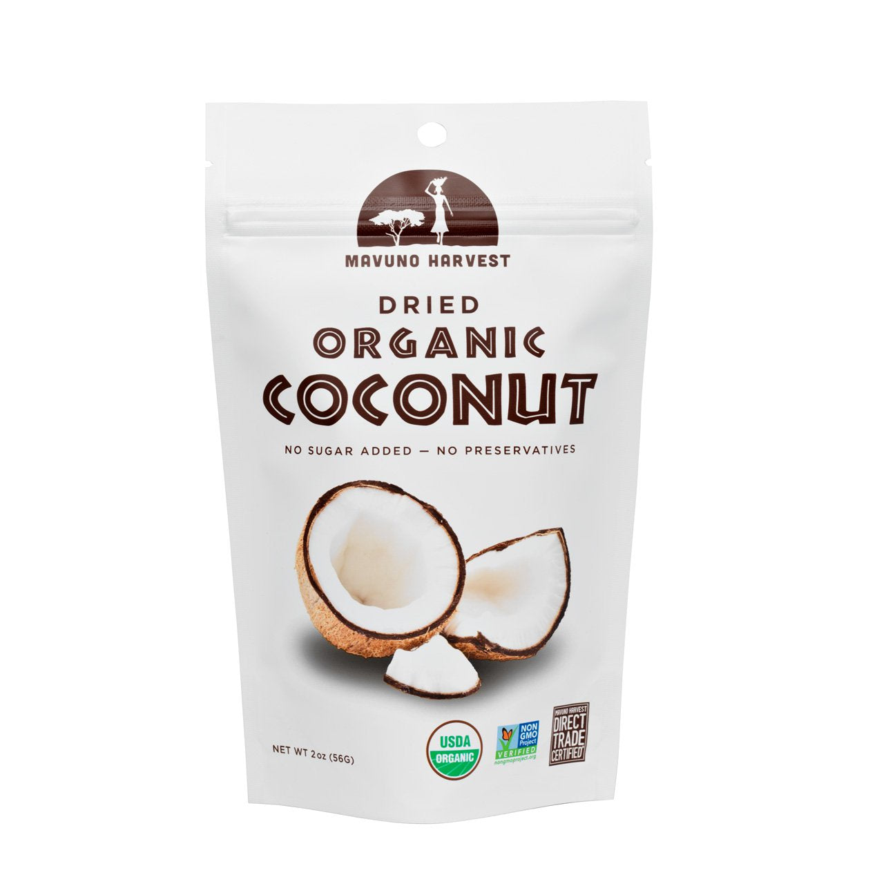 Mavuno Harvest Dried Organic Coconut, 2 oz. (Case of 6)