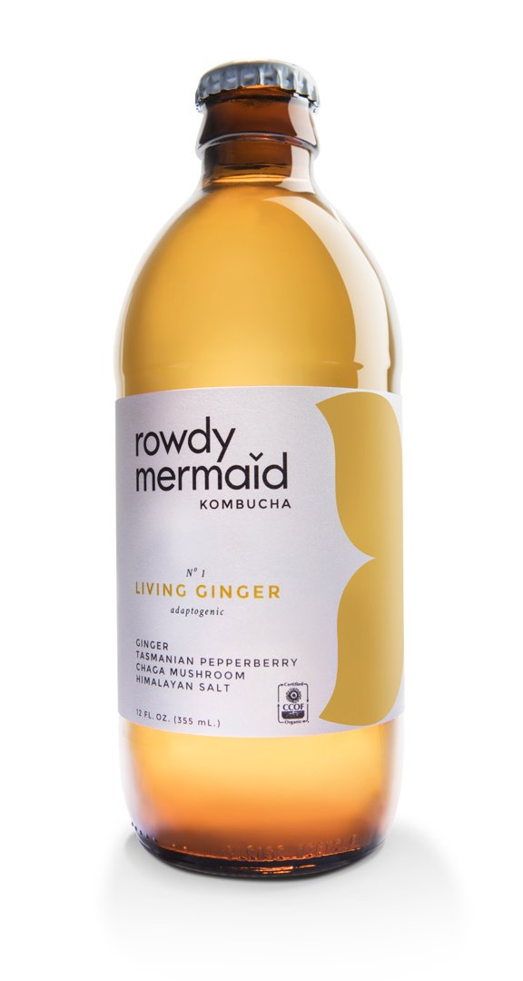 Rowdy Mermaid Living Ginger Kombucha, 12 oz. (Case of 12)