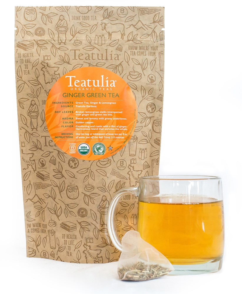 Teatulia Ginger Green Tea, 50/2 gr