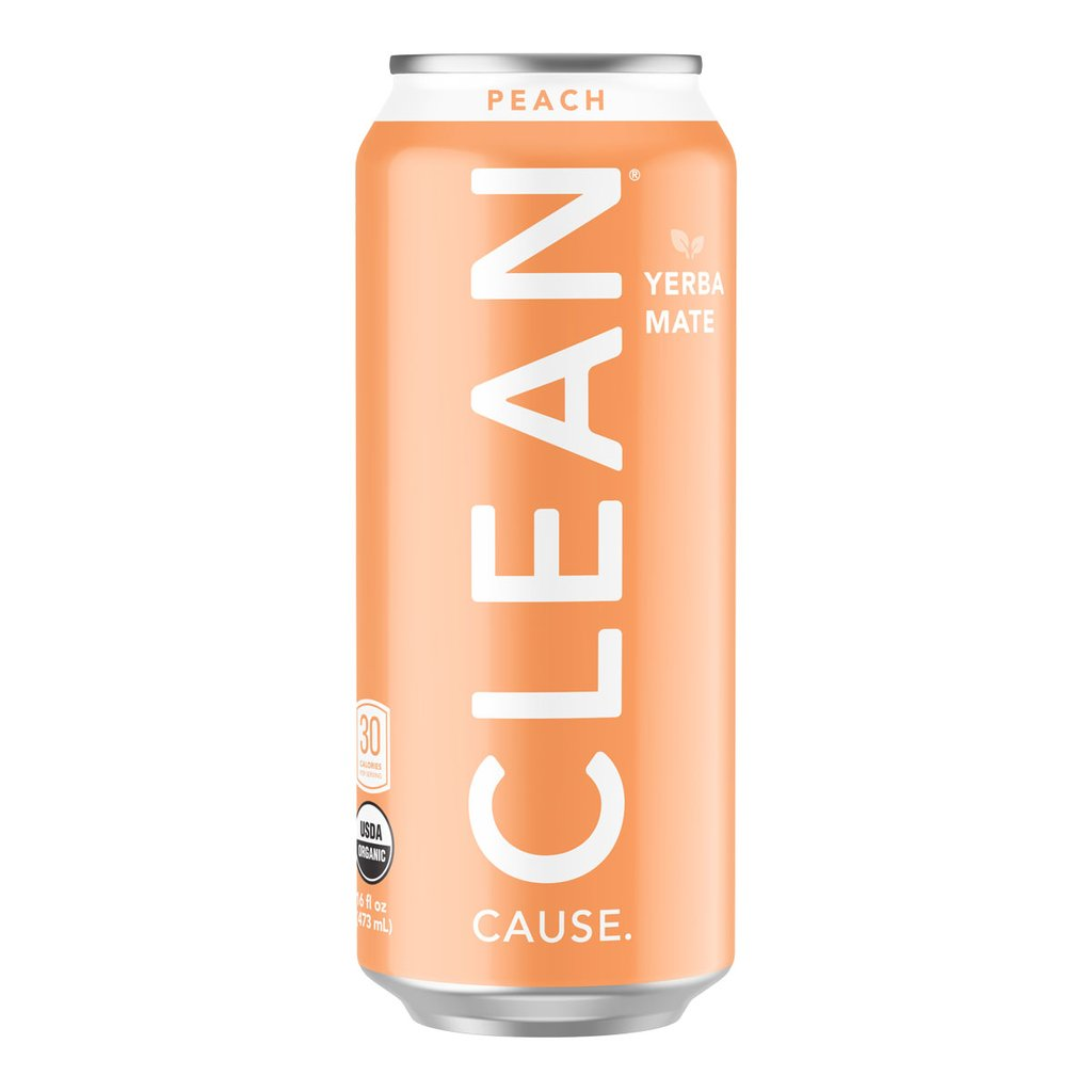 Clean Cause Sparkling Peach Yerba Mate, 16 oz. (Case of 12)
