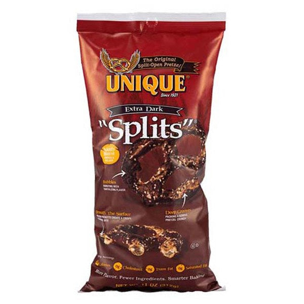Unique Pretzels, Extra Dark Splits, 11 Oz (Pack of 12)