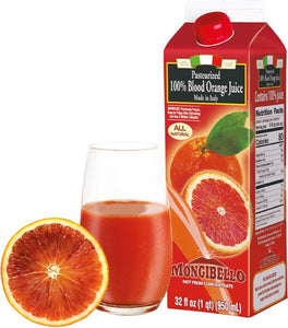 Mongibello Blood Orange Juice, 32 oz. (Pack of 4)