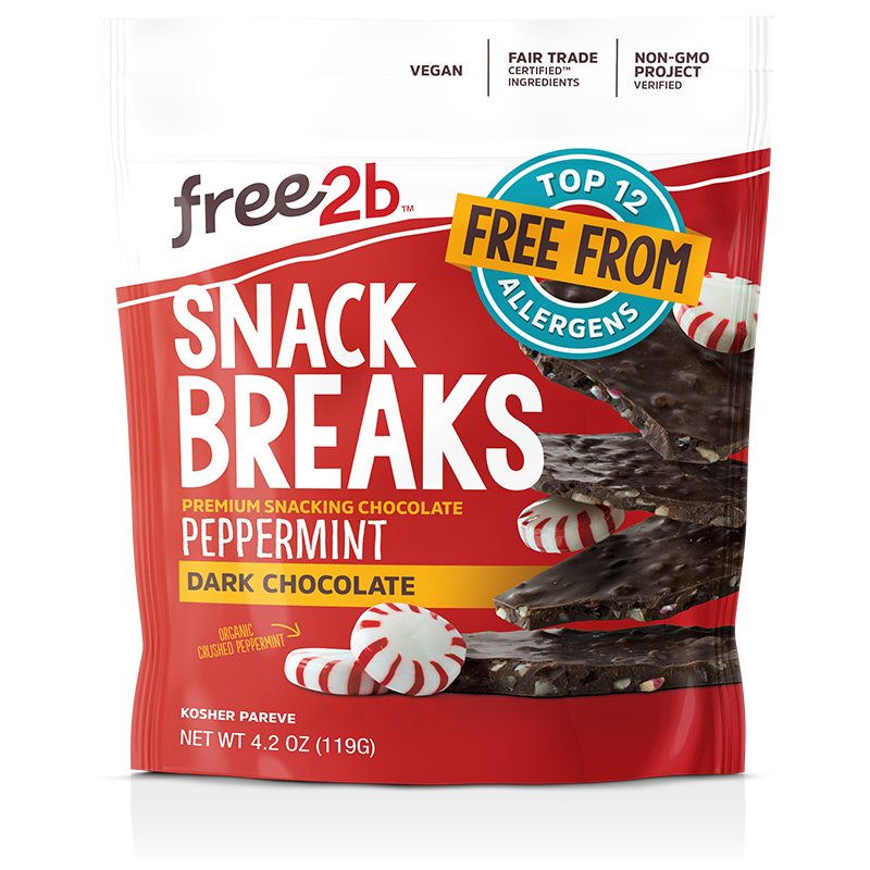 Free2b Foods Dark Chocolate Peppermint Snack Breaks Gluten-Free, Dairy-Free, Nut-Free and Soy-Free, 4.2 oz. (Pack of 6)