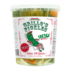 Grillo's Hot Italian Dill Pickle Spears, 32 Oz (Case of 6)