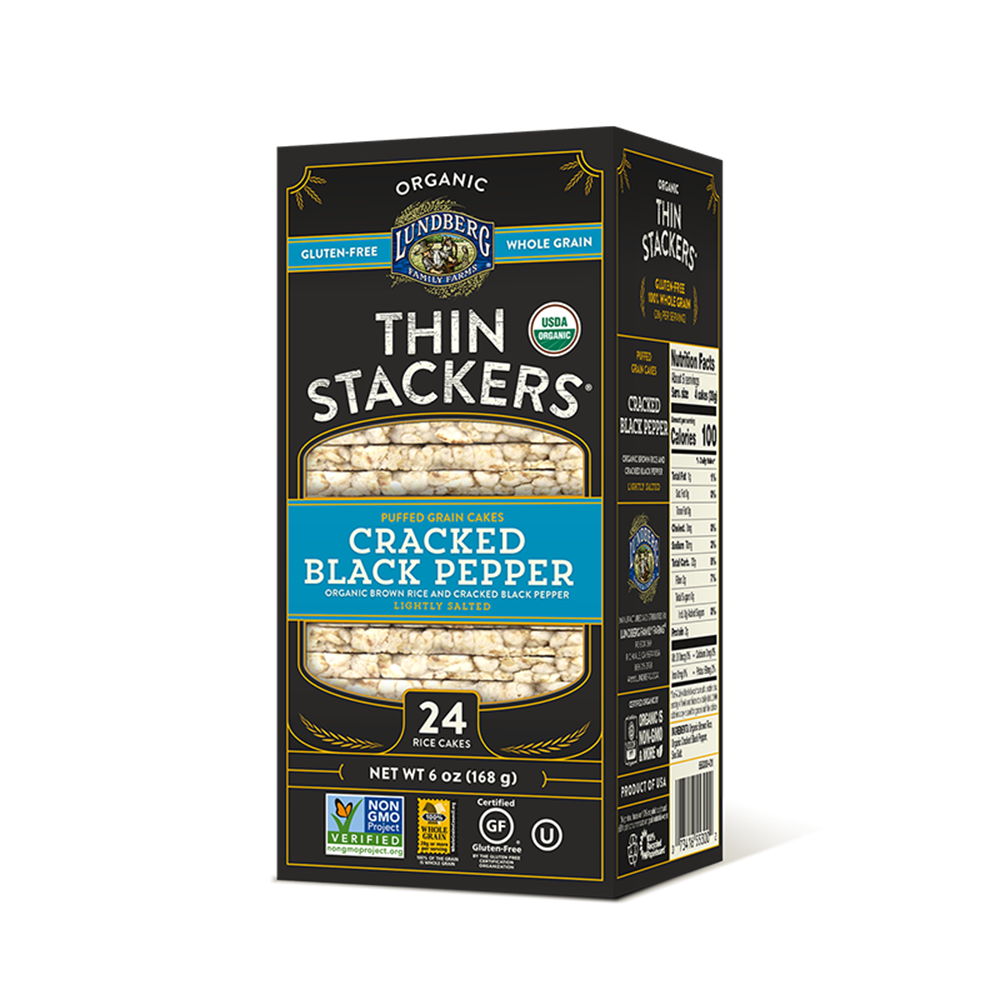 Lundberg Thin Stackers, Cracked Black Pepper, 6 Oz (Case of 12)