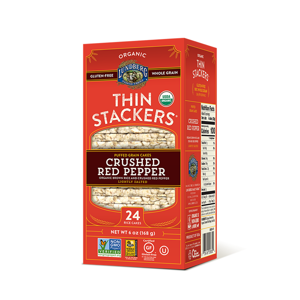 Lundberg Thin Stackers, Crushed Red Pepper, 6 Oz (Pack of 12)