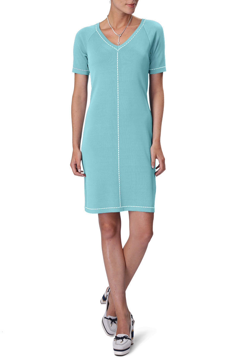 CINDY Dress (Aqua/White)