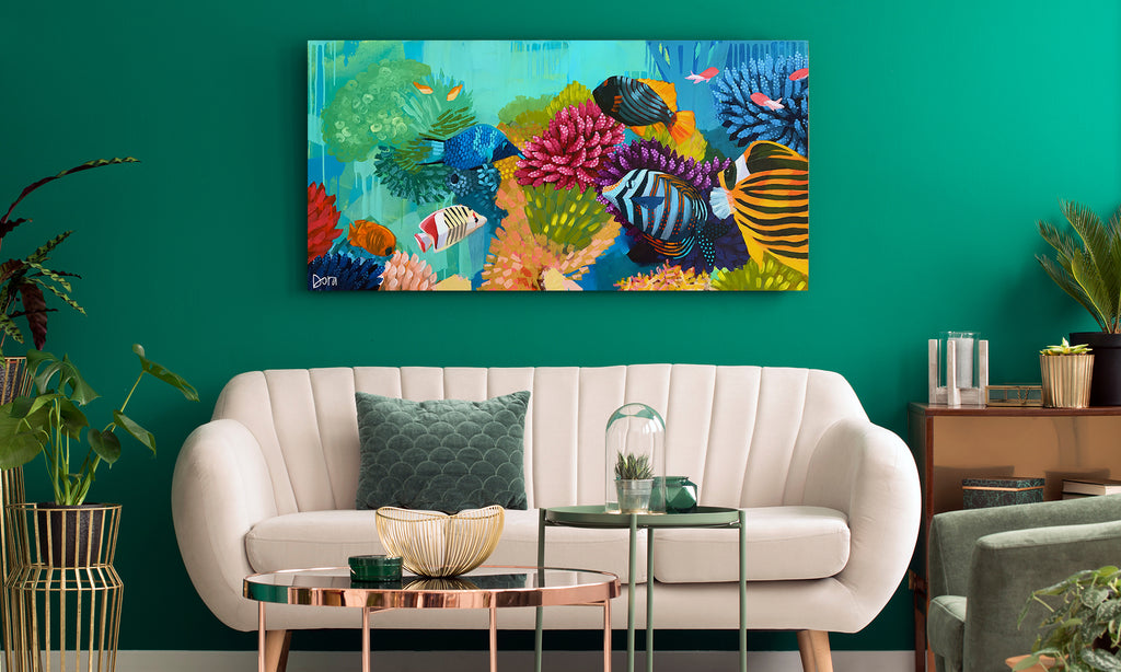 Pool Party - Coral Reef Art by Dora Knuteson