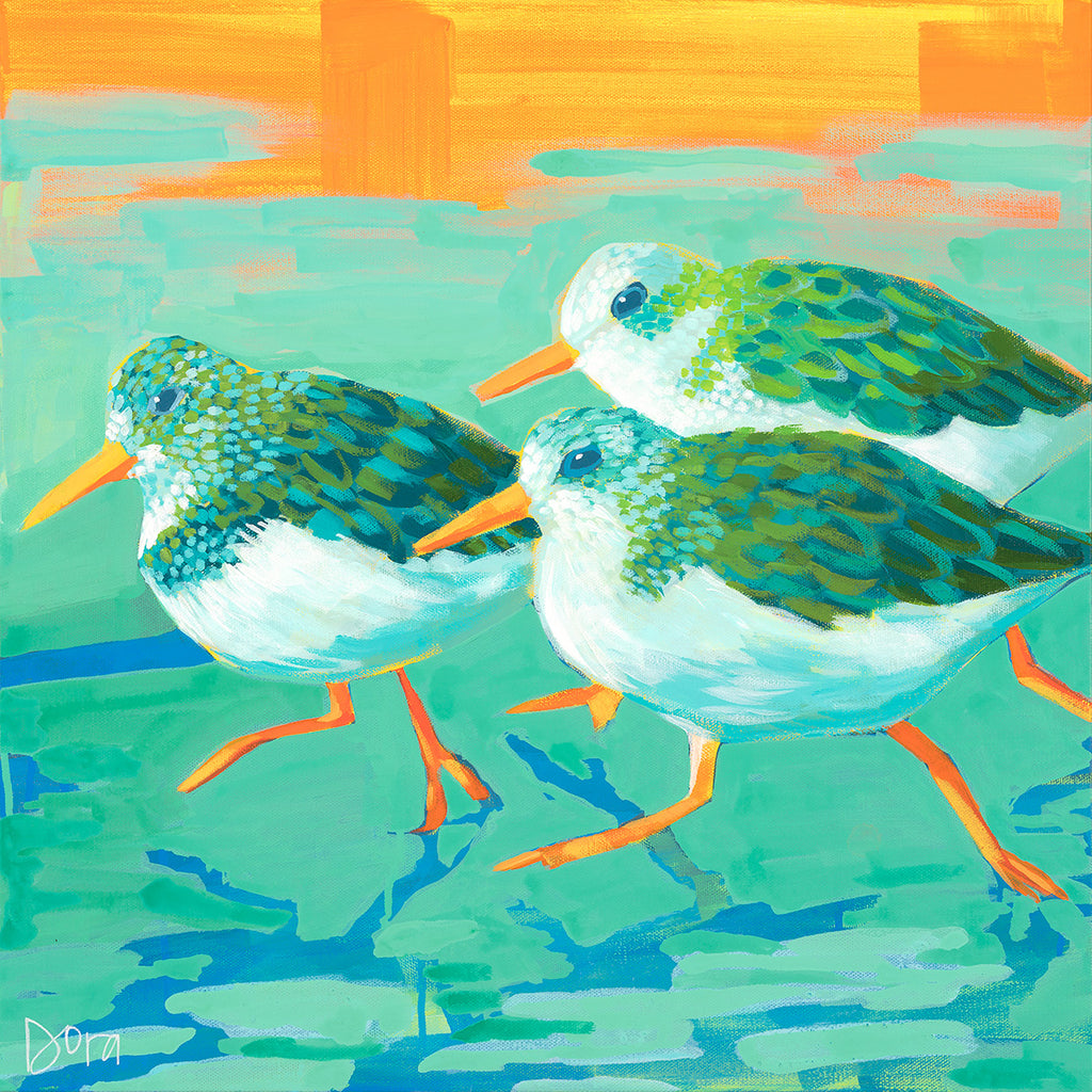 Splash and Dash - Shore bird art by Dora Knuteson