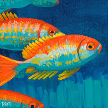 "Load image into Gallery viewer, ""Stay In Your Lane"" Fish Art by Dora Knuteson"